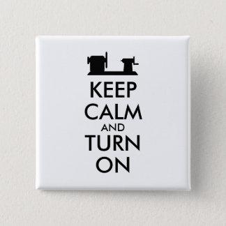 Woodturning Geschenk behalten Ruhe und schalten Quadratischer Button 5,1 Cm