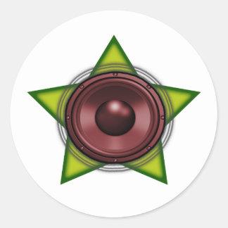 Woofer Rasta Stern Tollpatsch-Reggae Dubstep Runde Sticker