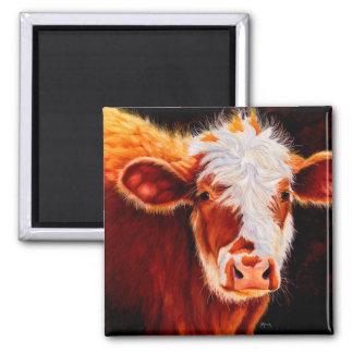 Wooly Tyrann - haariger Hereford Kalb-Kuh-Magnet Quadratischer Magnet