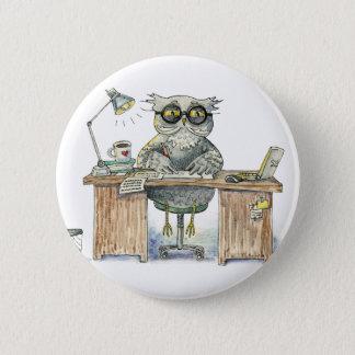 Workaholicnachteule Runder Button 5,1 Cm