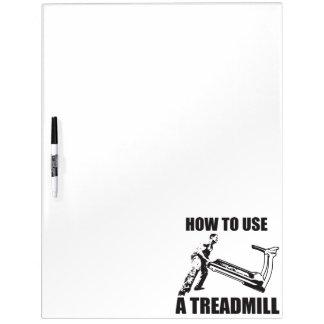 Workout-Spaß - wie man eine Tretmühle benutzt Trockenlöschtafel