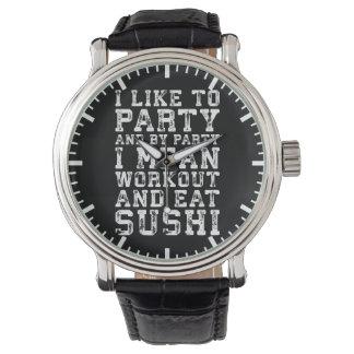 Workout und essen Sushi (mich mag zum Party) - Armbanduhr