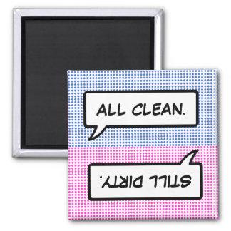 Wort-Blasen-sauberer/schmutziger Quadratischer Magnet