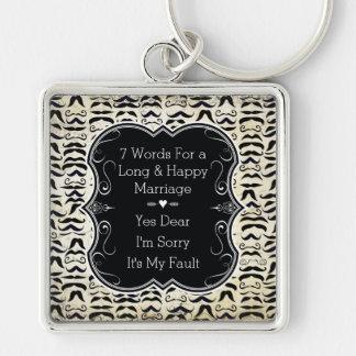 Wort-glückliche Heirat Herr-Hipster Mustache 7 Schlüsselanhänger