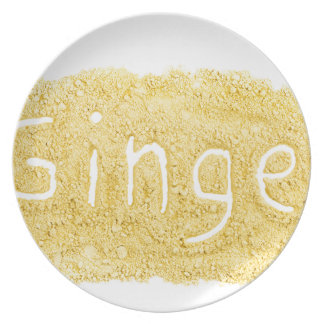 Wort-Ingwer geschrieben in Gewürzpulver Teller