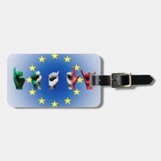 Wort Italien über der europäischen Kofferanhänger