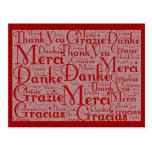 Wort-Kunst: Danke in den multi Sprachen - rotes Postkarte