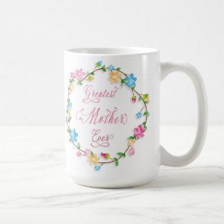 Wort-Kunst der Mutter Tageshübsche Blumendes Kaffeetasse