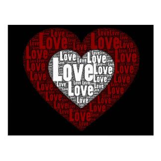 Wort-Kunst: Liebe in einem doppelten Herzen Postkarte
