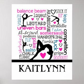 Wörter der Gymnastik-Terminologie mit Monogramm Poster