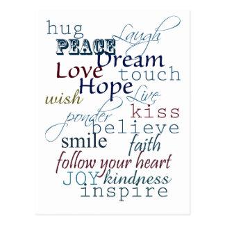 Wörter der Inspiration Postkarte