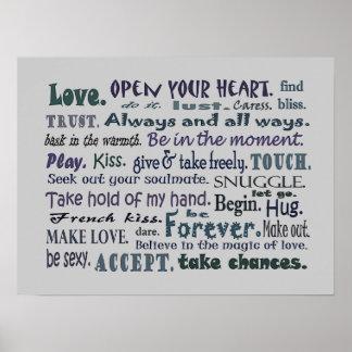 Wörter des Liebecollagen-Kunstplakats