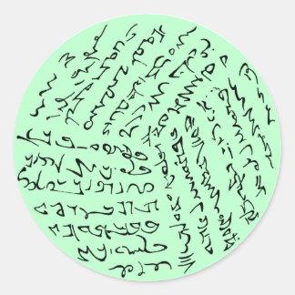 Wörter sind magisch (tadelloses Grün) Runder Aufkleber