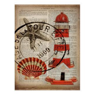 Wörterbuch druckt Kunst Küstenseashellleuchtturm Postkarte