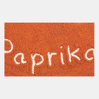 Wortpaprika geschrieben in Paprikapulver Rechteckiger Aufkleber