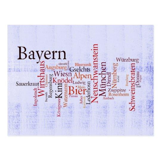 Wortwolke word cloud Bayern Bavaria Postkarte