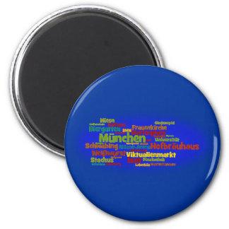 Wortwolke word cloud München Munich Runder Magnet 5,7 Cm
