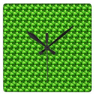 Wow-Grün Quadratische Wanduhr