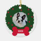 Wreath des lustigen Hundeliebhabers Weihnachtsmit Keramik Ornament