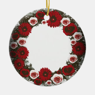 "Wreath-""Kiefern-Kegel"" Posterized Keramik Ornament"