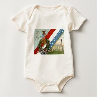 Wreath-Medaillen-Friedhof wir Flagge Baby Strampler