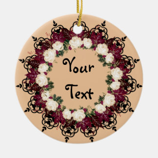 "Wreath-""rote Blatt-"" Keramik Ornament"