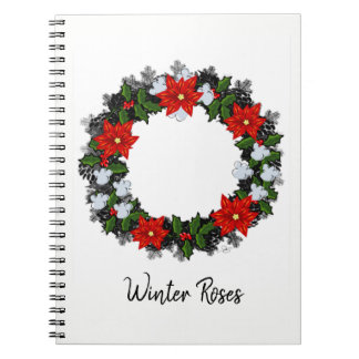 "Wreath-""Winter-Rosen-"" Blumen-Blumennotizbuch Spiral Notizblock"