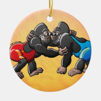 Wrestling-Gorillas Rundes Keramik Ornament