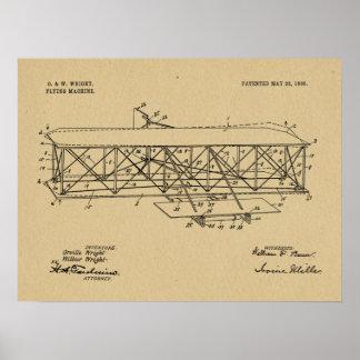 Wright-Bruder-Flugzeug-Patent 1906, das Druck Poster
