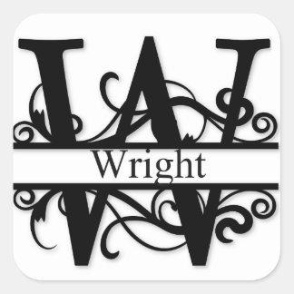 Wright-Monogramm Quadratischer Aufkleber