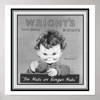Wrights X12 des Keks-Vintages Anzeigen-Plakats 12 Poster