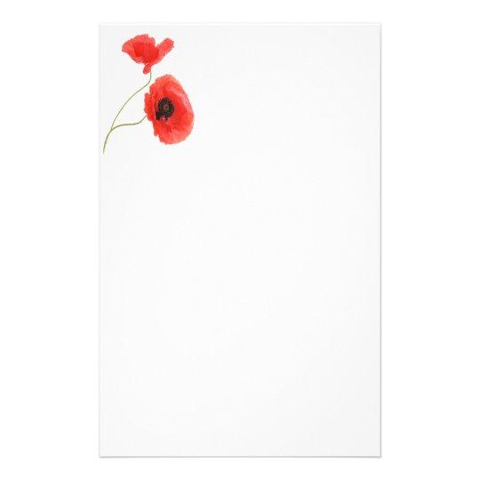 Writing paper poppy briefpapier