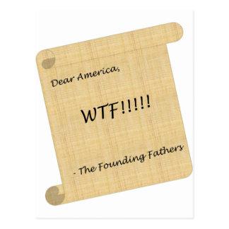 WTF!!! von den Gründervätern Postkarte