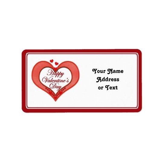 Wulstiger roter Herz-Valentinsgruß Adressaufkleber
