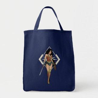 Wunder-Frau mit Klinge-Comic-Kunst Einkaufstasche