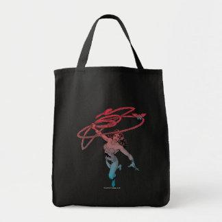 Wunder-Frau mit Lasso-roter blauer Steigungs-Linie Einkaufstasche