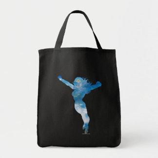 Wunder-Frauen-blauer Himmel-Silhouette Einkaufstasche