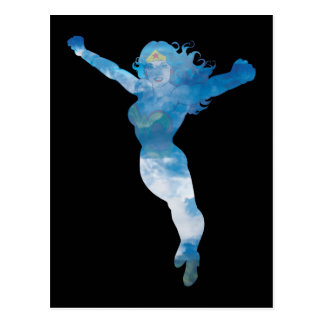 Wunder-Frauen-blauer Himmel-Silhouette Postkarte