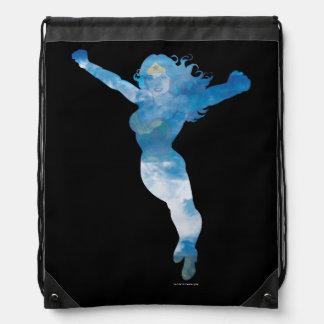 Wunder-Frauen-blauer Himmel-Silhouette Turnbeutel