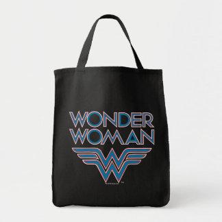 Wunder-Frauen-blaues und rotes Retro Logo Einkaufstasche