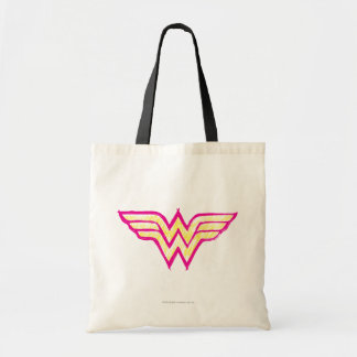 Wunder-Frauen-buntes rosa und gelbes Logo Budget Stoffbeutel