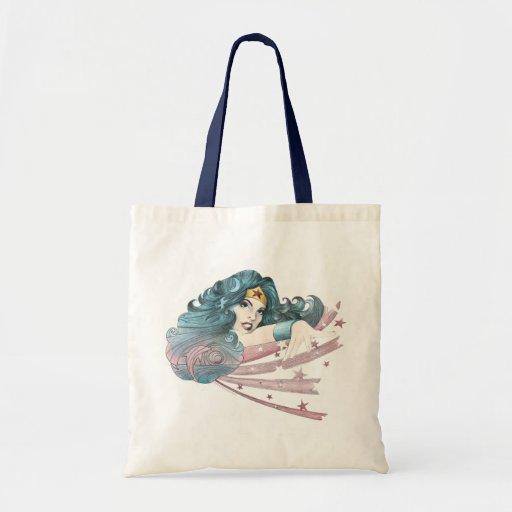 Wunder-Frauen-Delphin und Streifen Einkaufstasche
