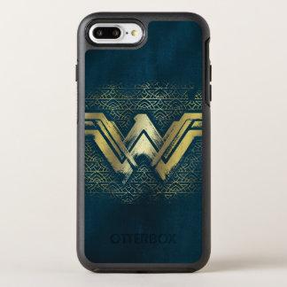 Wunder-Frauen-gebürstetes Goldsymbol OtterBox Symmetry iPhone 8 Plus/7 Plus Hülle
