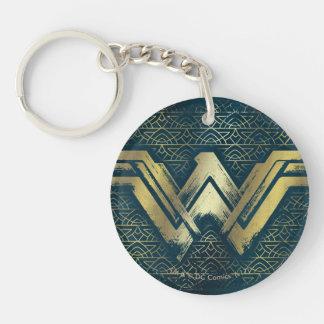 Wunder-Frauen-gebürstetes Goldsymbol Schlüsselanhänger