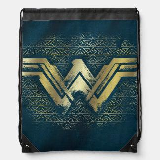Wunder-Frauen-gebürstetes Goldsymbol Turnbeutel