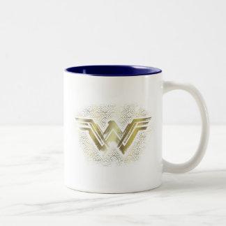 Wunder-Frauen-gebürstetes Goldsymbol Zweifarbige Tasse