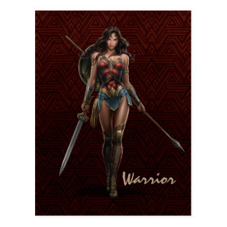 Wunder-Frauen-Kampf-Bereite Comic-Kunst Postkarte
