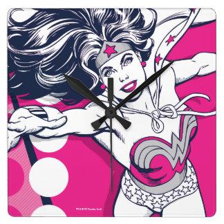 Wunder-Frauen-Retro bezaubernde Charakter-Kunst Quadratische Wanduhr