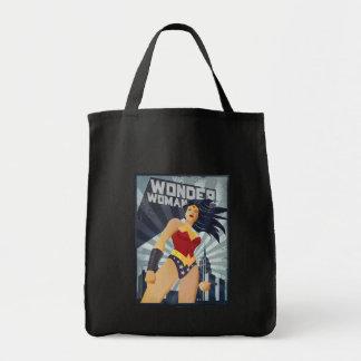 Wunder-Frauen-Retro Stadt-Sonnendurchbruch Einkaufstasche