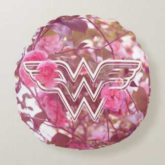 Wunder-Frauen-Rosa-Kamelien-Blumen-Logo Rundes Kissen